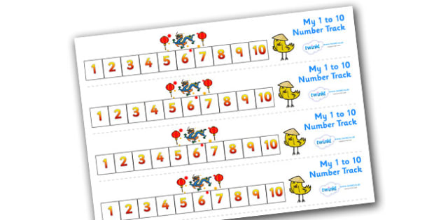 Chinese New Year Number Track (1-10) - Maths, Math, chinese new year, number track, numbertrack, Counting, Numberline, Number line, Counting on, Counting back, China, lantern, dragon, chopsticks, noodles, year of the rabbit, ox, snake, fortune cookie