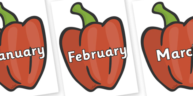 Months of the Year on Peppers (Plain) - Months of the Year, Months poster, Months display, display, poster, frieze, Months, month, January, February, March, April, May, June, July, August, September
