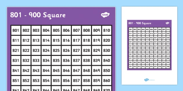 801-900 Square - 801, 900, square, number, number square, maths, numeracy