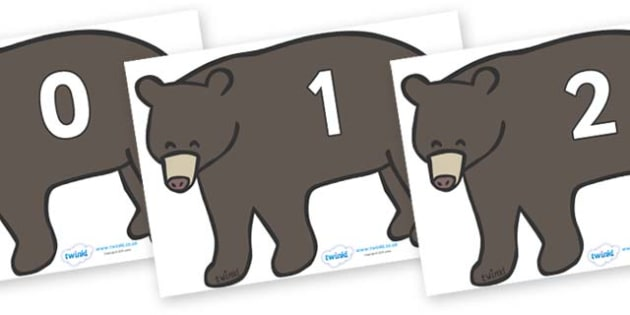 Numbers 0-31 on Grizzly Bears - 0-31, foundation stage numeracy, Number recognition, Number flashcards, counting, number frieze, Display numbers, number posters