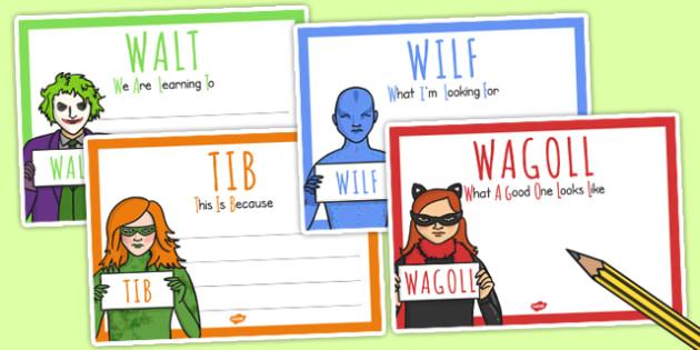 Superhero Villain Themed WALT WILF TIB WAGOLL Posters - display