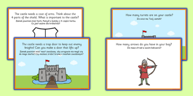 Medieval Castle Role Play Challenge Cards Polish Translation - polish, medieval castle, role play, challenge
