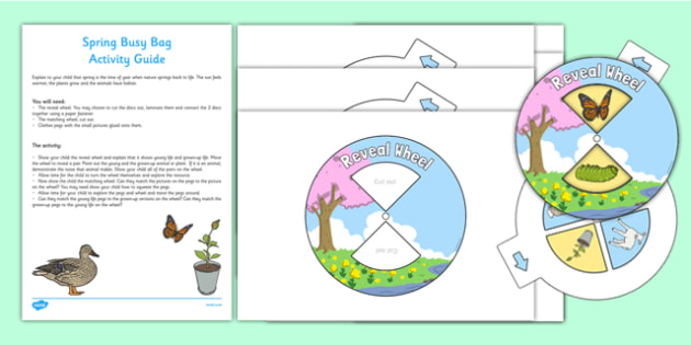 Spring Busy Bag and Resource Pack for Parents - Spring, baby animals, reveal wheel