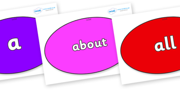100 High Frequency Words on Ovals - High frequency words, hfw, DfES Letters and Sounds, Letters and Sounds, display words