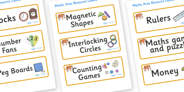 Tiger Themed Editable Maths Area Resource Labels - Themed maths resource labels, maths area resources, Label template, Resource Label, Name Labels, Editable Labels, Drawer Labels, KS1 Labels, Foundation Labels, Foundation Stage Labels, Teaching Label