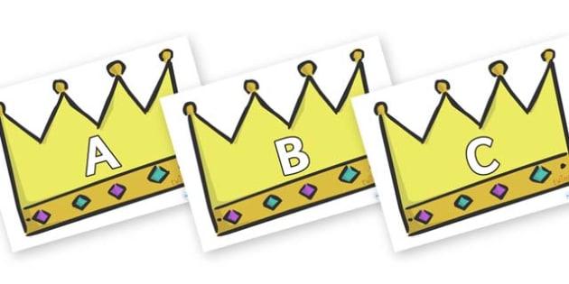 A-Z Alphabet on Crowns (Plain) - A-Z, A4, display, Alphabet frieze, Display letters, Letter posters, A-Z letters, Alphabet flashcards