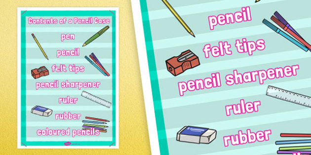 Contents of a Pencil Case Poster - contents, pencil case, poster
