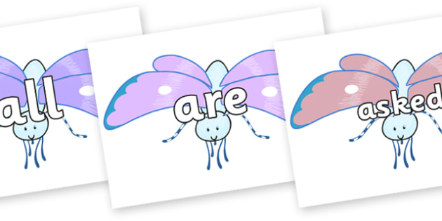 Tricky Words on Blue Butterfly to Support Teaching on The Crunching Munching Caterpillar - Tricky words, DfES Letters and Sounds, Letters and sounds, display, words