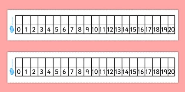 Editable Number Track 0-20 - editable, number track, 0, 20, number, track, maths