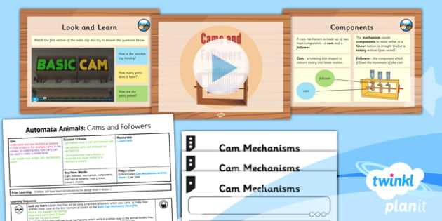 PlanIt - Design and Technology UKS2 - Automata Animals Lesson 2: Cams and Followers Lesson Pack - rotary, linear, motion, mechanical systems