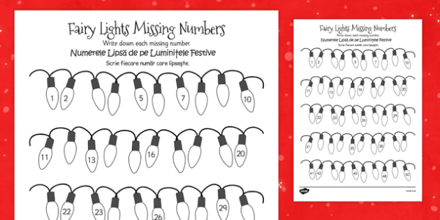 Christmas Fairy Light Missing Number Activity Sheet Romanian Translation - counting, festive, maths, filler, colouring, early years, ks1, key stage 1, worksheet