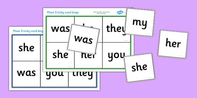 Phase 3 Tricky Word Bingo - Word Bingo, Phase 3, Phase three, Foundation bingo, High Frequency Words, Letters and Sounds, DfES Letters and Sounds, Tricky Words