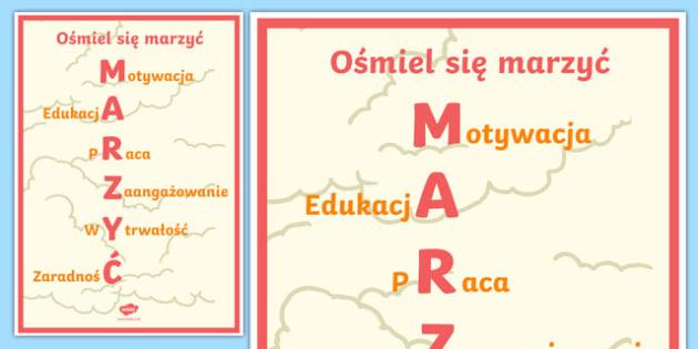 Plakat motywacyjny Ośmiel się marzyć po polsku