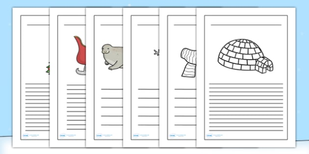 Winter Writing Frames - winter, writing frames, seasons, writing guide, writing frame, writing template, writing aid, lined pages, themed pages, line guide