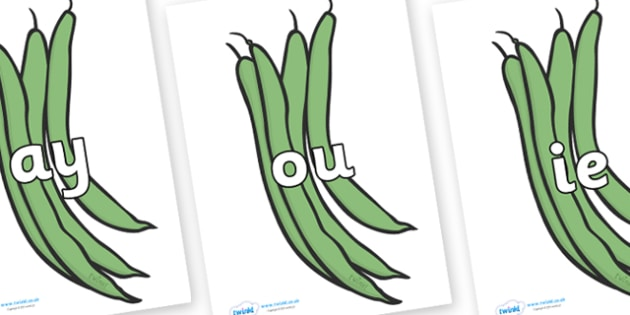 Phase 5 Phonemes on Green Beans - Phonemes, phoneme, Phase 5, Phase five, Foundation, Literacy, Letters and Sounds, DfES, display
