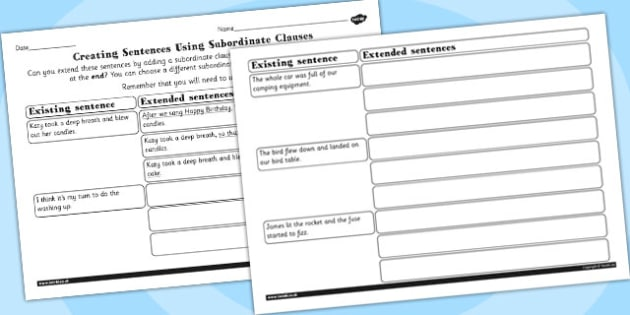 Extending Sentences by Adding Subordinate Clauses Activity