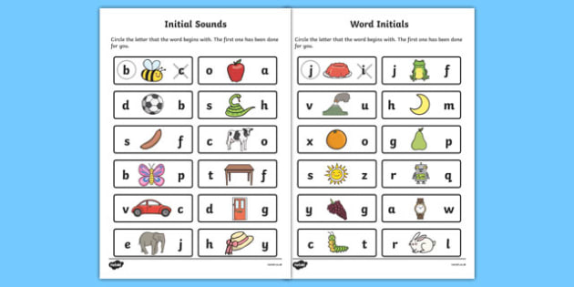Initial Sounds Worksheet - initial letters, first letter of a word, first letter of a word worksheet, whats the first letter of the word, initials