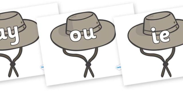 Phase 5 Phonemes on Cowboy Hats - Phonemes, phoneme, Phase 5, Phase five, Foundation, Literacy, Letters and Sounds, DfES, display