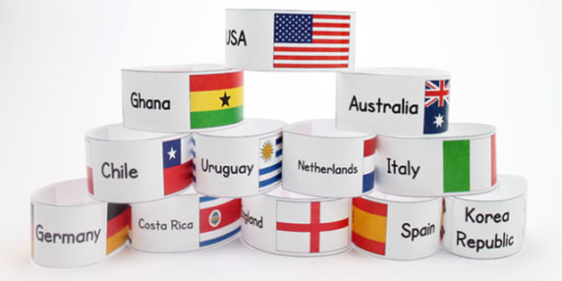 World Cup Country Name and Flags Wristbands - football, sports