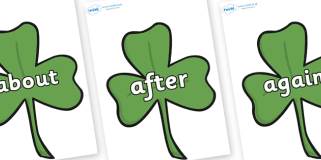 KS1 Keywords on Clovers - KS1, CLL, Communication language and literacy, Display, Key words, high frequency words, foundation stage literacy, DfES Letters and Sounds, Letters and Sounds, spelling