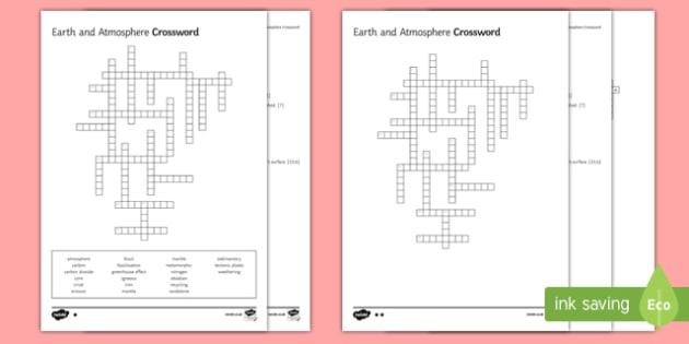 KS3 Earth and Atmosphere Crossword