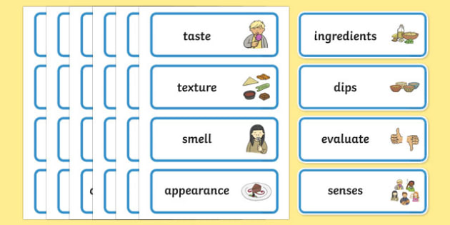 Evaluating Dips Word Cards - evaluating, dips, word cards, dt
