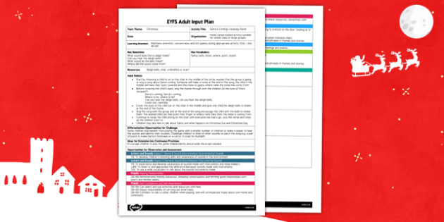 Santas Coming Listening Game EYFS Adult Input Plan and Resource Pack