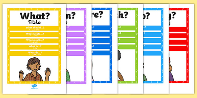 Question Words Poster Pack Arabic Translation - displays, display, questions