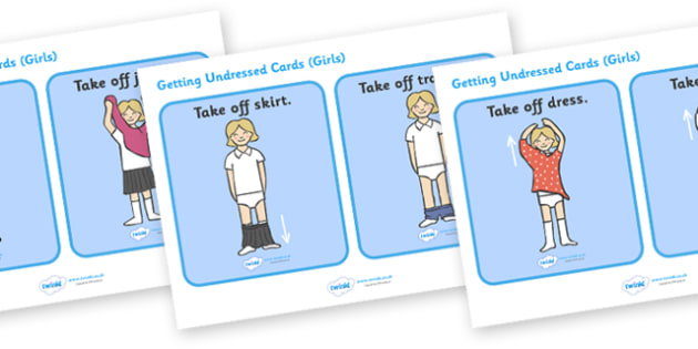 Getting Undressed Routine Cards (Girls) - daily routine, education, home school, child development, children activities, free, kids
