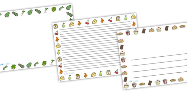 Food Full Page Borders (Landscape) - page borders, food page borders, food borders for page, landscape, landscape food border, A4, border for page, lined