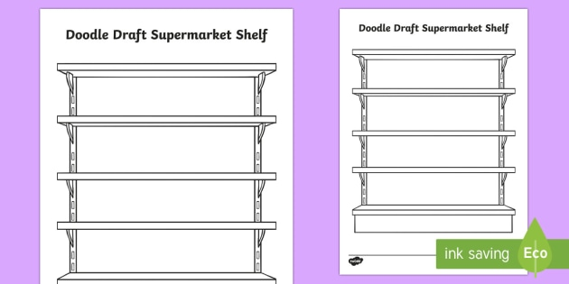 Doodle Draft Supermarket Shelf Activity Sheet