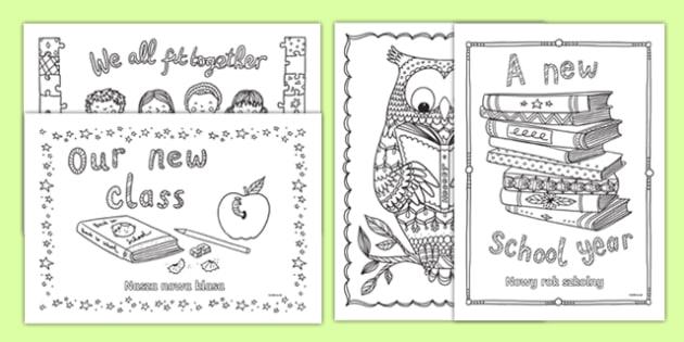 Back to School Themed Mindfulness Colouring Polish Translation-Polish-translation