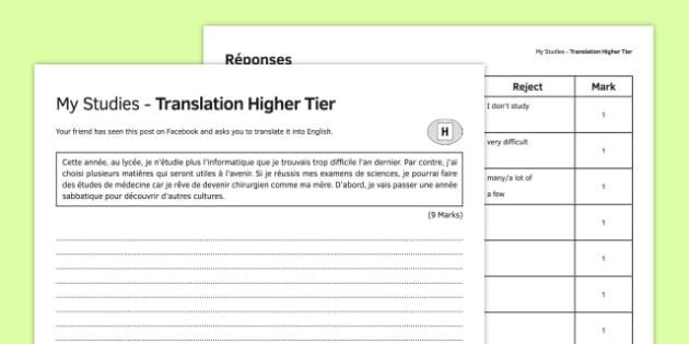 Mes études TraductionHigher Tier - french, Translation, Higher, Traduction, Studies, School
