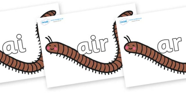Phase 3 Phonemes on Millipedes - Phonemes, phoneme, Phase 3, Phase three, Foundation, Literacy, Letters and Sounds, DfES, display