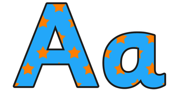 Blue and Orange Stars Small Lowercase Display Lettering - display lettering