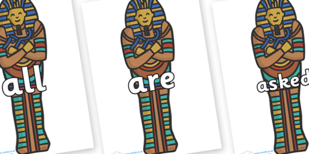 Tricky Words on Sarcophagus - Tricky words, DfES Letters and Sounds, Letters and sounds, display, words