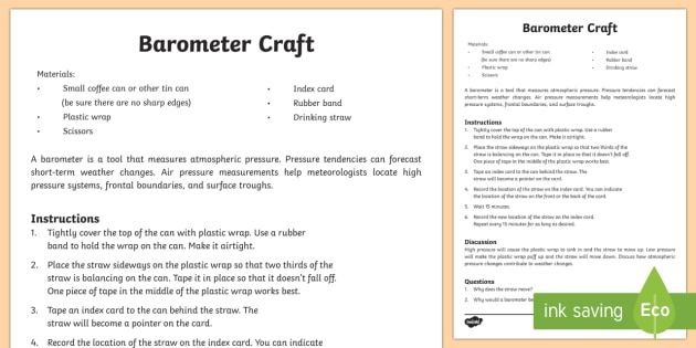 Make Your Own Barometer Activity