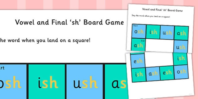 Vowel and Final 'Sh' Sound Board Game - sh sound, final, board