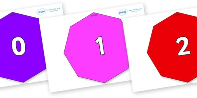 Numbers 0-50 on Octagons - 0-50, foundation stage numeracy, Number recognition, Number flashcards, counting, number frieze, Display numbers, number posters