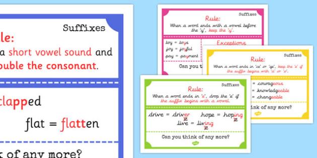 Suffix Display Posters - suffi, display posters, suffix, display, poster, sign, banner, ending, end, rules, short vowel, consonant, suffixes