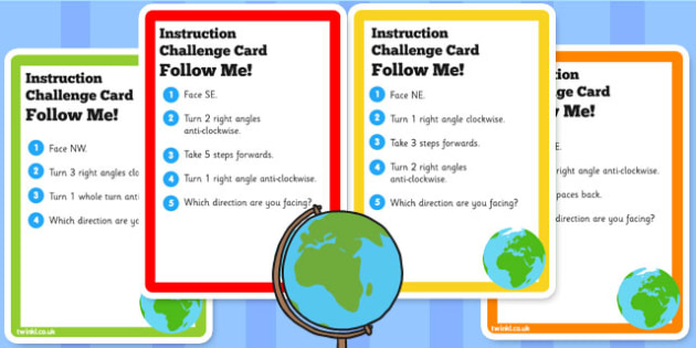 Geography Following Directions Challenge Cards - direction, KS2