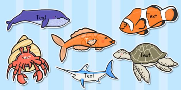 Editable Under the Sea Creatures - editable, under the sea, creatures