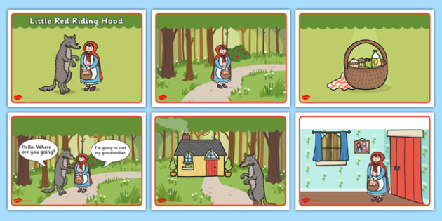 Little Red Riding Hood Story Sequencing (Speech Bubbles) - Little Red Riding Hood, traditional tales, tale, fairy tale, Wolf, Grandma, woodcutter, bed, cottage, forest, what big teeth you have