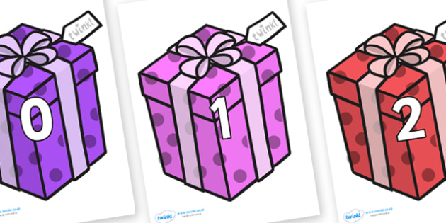 Numbers 0-100 on Christmas Gifts - 0-100, foundation stage numeracy, Number recognition, Number flashcards, counting, number frieze, Display numbers, number posters