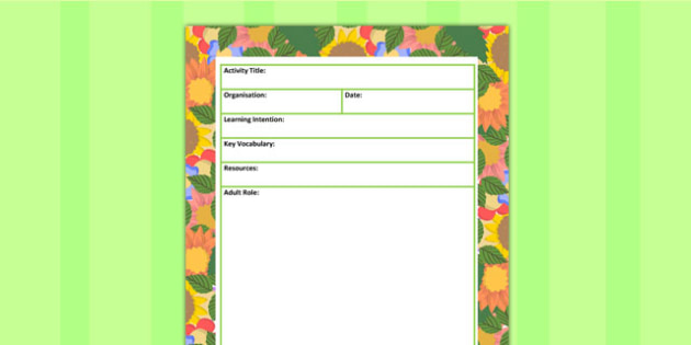 Plants and Growth Themed Adult Led Carpet Based Activity Plan
