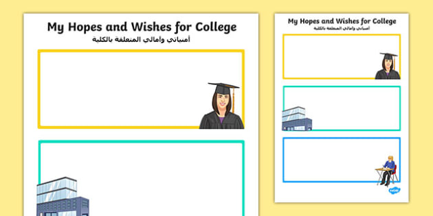 My Hopes and Wishes for College Activity Sheet Arabic Translation - arabic, Transition, College, Vocational Subjects, Transition Planning, Special Educational Needs, Hopes and Aspirations, worksheet