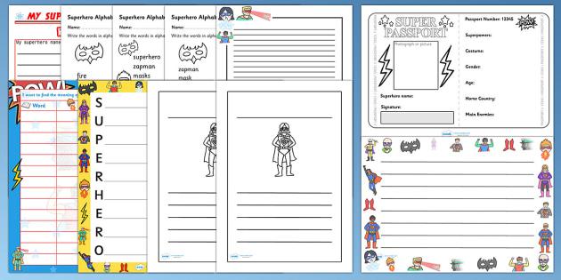Superhero Themed Writing Activity Pack - write, writing aid