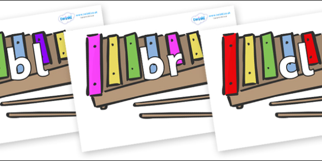 Initial Letter Blends on Glockenspiels - Initial Letters, initial letter, letter blend, letter blends, consonant, consonants, digraph, trigraph, literacy, alphabet, letters, foundation stage literacy