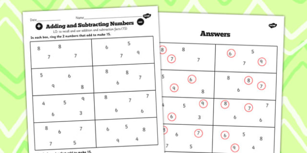 Number Facts to 20 Find Pairs to 15 Worksheet - number, facts