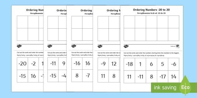 Ordering Numbers -20 to 20 Activity Polish/English  - Ordering Sheets, negative numbers, ordering, worksheet,Polish-translation